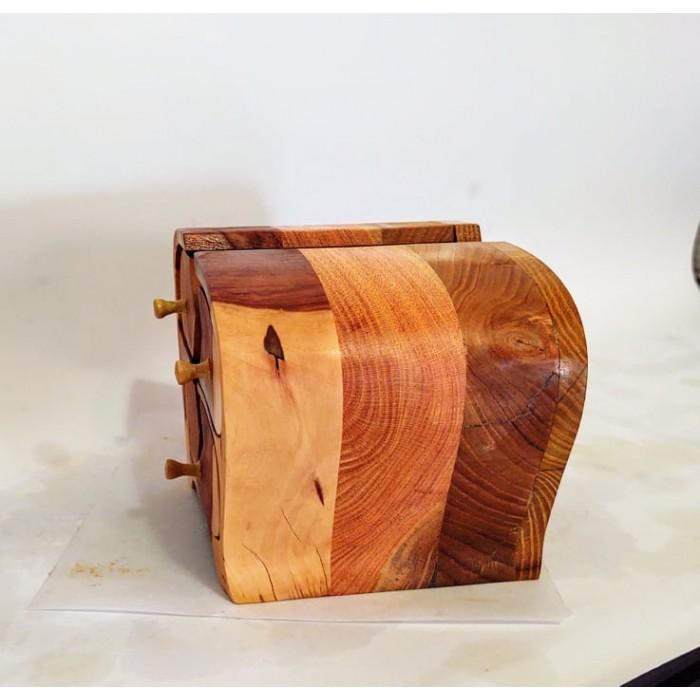 Дървена кутия за бижута от дива череша, черница и гледичия gora.bg 028 K