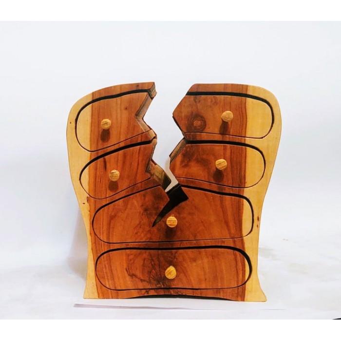 Дървена кутия за бижута от дива череша, акация, черница и гледичия gora.bg 033 K