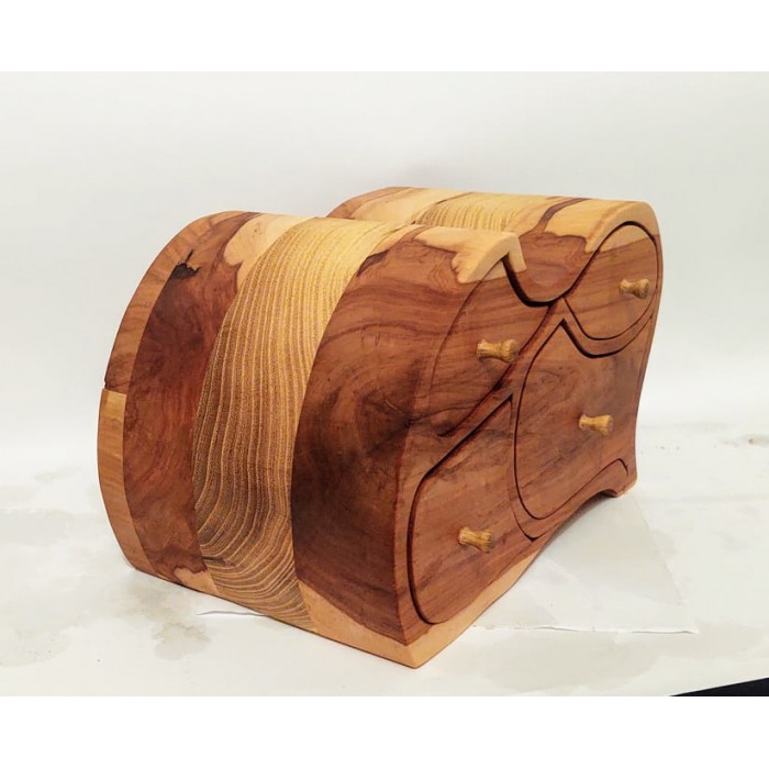 Дървена кутия за бижута от дива череша, акация и черница gora.bg 035 K