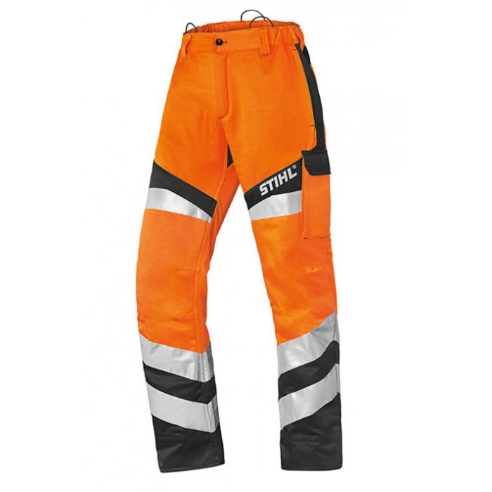 Защитен панталон в сигнален цвят, за работа с храсторез STIHL Protect FS