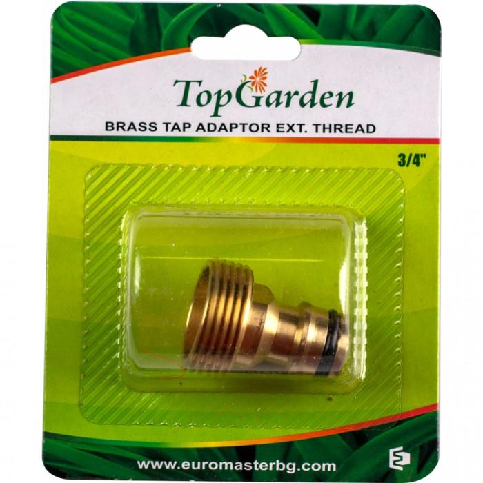 """Адаптер 3/4"""" за кран, външна резба, месингов, Top Garden 400412"""
