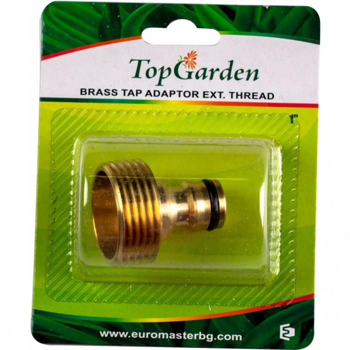 """Адаптер 1"""" за кран, външна резба, месингов, Top Garden 400413"""