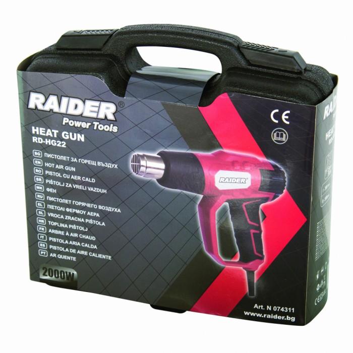 Пистолет за горещ въздух 2000W 2 степени аксесоари куфар Raider RD-HG22