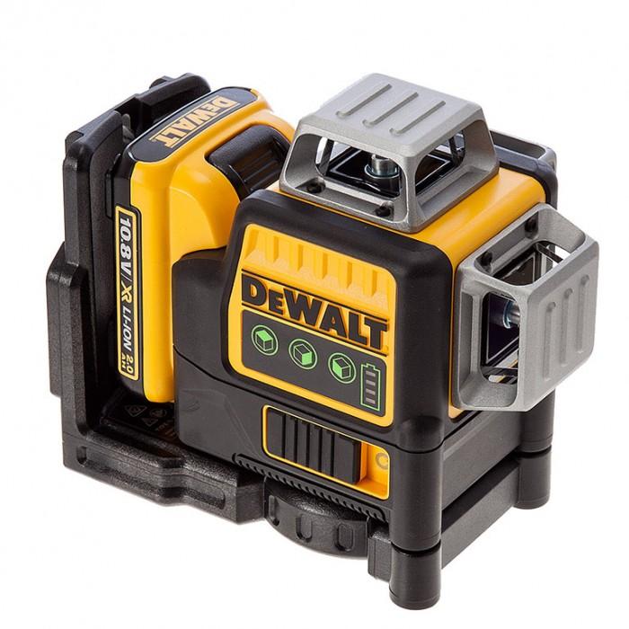 Нивелир лазерен линеен с 3 лъча 30 м, 0.3 мм/м, DeWALT DCE089D1G