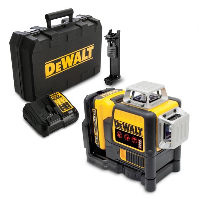 Нивелир лазерен линеен с 3 лъча 30 м, 0.3 мм/м, DeWALT DCE089D1R