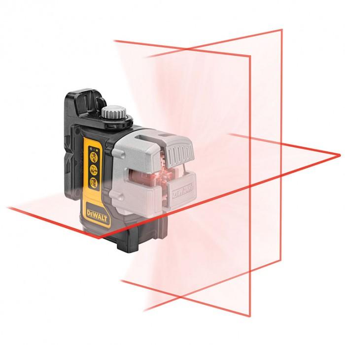 Нивелир лазерен линеен с 3 лъча 15 м, 0.3 мм/м, DeWALT DW089K