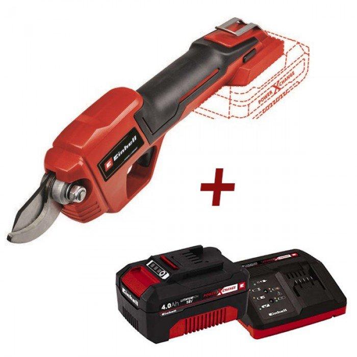 Акумулаторна градинска ножица + батерия и заряднo устройство 18 V 4 Ah Einhell