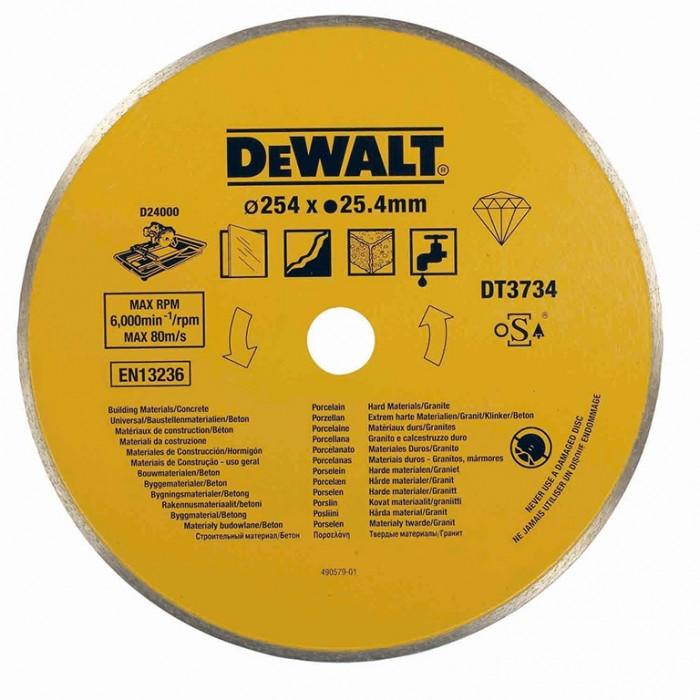 Диск диамантен за мокро рязане на керамични плочки 254x25.4x1.6 мм, 8 мм, DeWALT DT3734