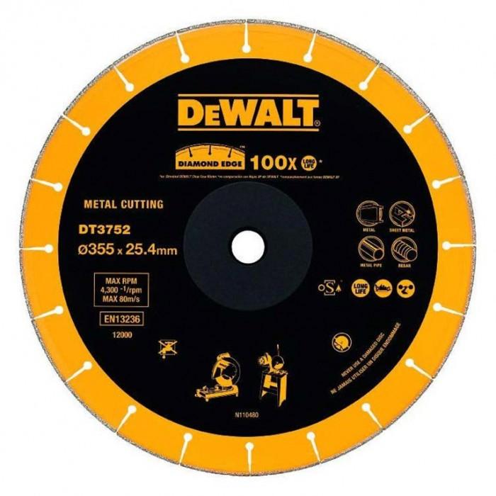 Диск диамантен за сухо рязане универсален 355x25.4x3 мм, 3 мм, DeWALT DT3752
