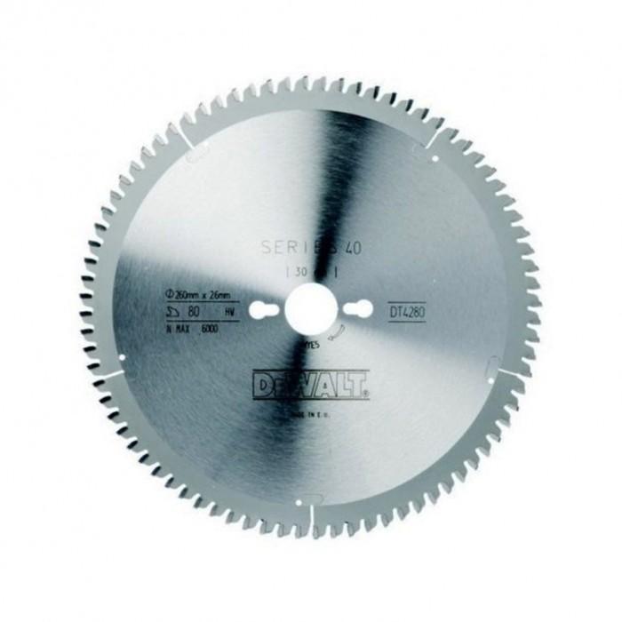 Диск метален HM за рязане на ламинат 260х30х1.8 мм, 80 z, DeWALT DT4280