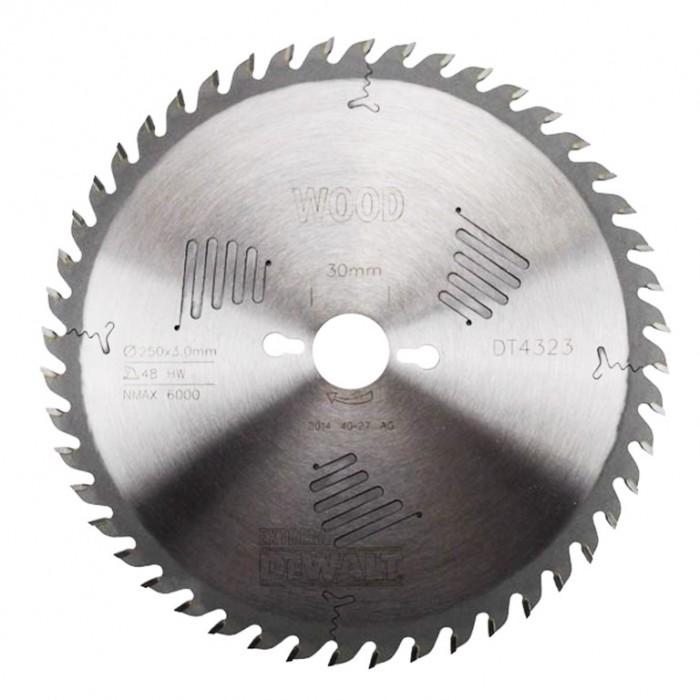 Диск метален HM за рязане на дърво напречно подаване 250x30x3 мм, 48 z, DeWALT DT4323