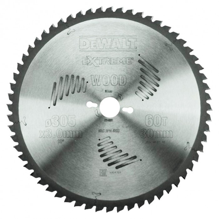 Диск метален HM за рязане на дърво напречно и надлъжно подаване 305x30x3 мм, 60 z, DeWALT DT4331