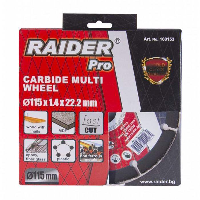 Диск за ъглошлайф Carbide Multi Wheel 115x22.2mm Raider 160153