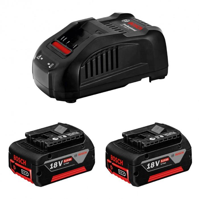 Батерия Li-Ion комплект със зарядно устройство 18 V, 5 Ah, 2 бр.  Bosch GSR, GDX, GDS,GSB 18