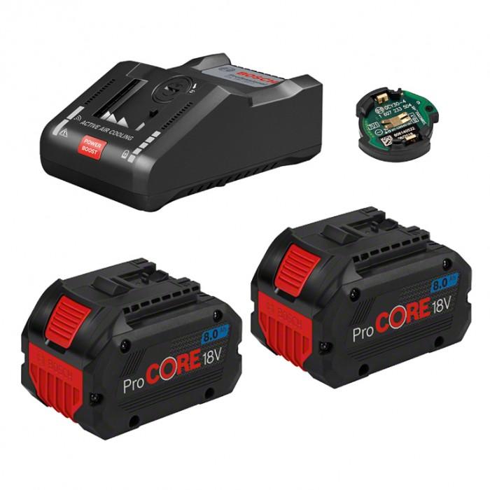 Батерия Li-Ion комплект със зарядно устройство 18 V, 8 Ah, 2 бр., Bosch ProCORE18V