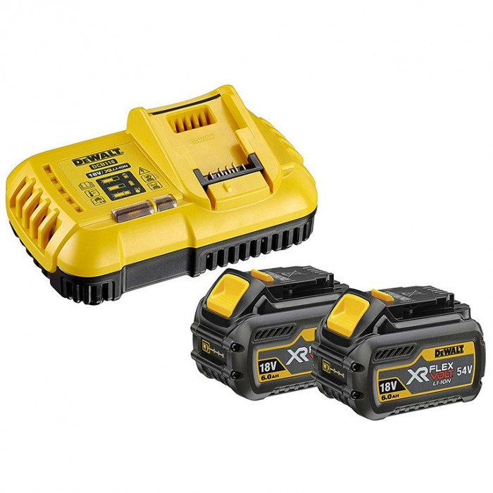 Батерия Li-Ion комплект със зарядно устройство 18/54 V, 2/6 Ah, 2 бр., DeWALT DCB118T2
