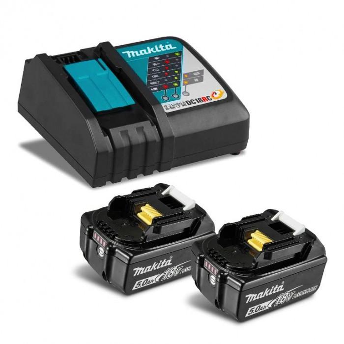 Батерия Li-Ion комплект за електроинструменти със зарядно 18 V, 5 Ah, 2 бр. Makita BL1850B Set