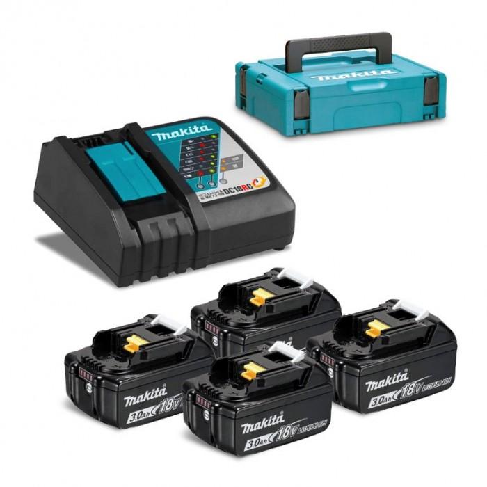 Батерия Li-Ion комплект за електроинструменти със зарядно 18 V, 3 Ah, 4 бр. Makita 197954-1