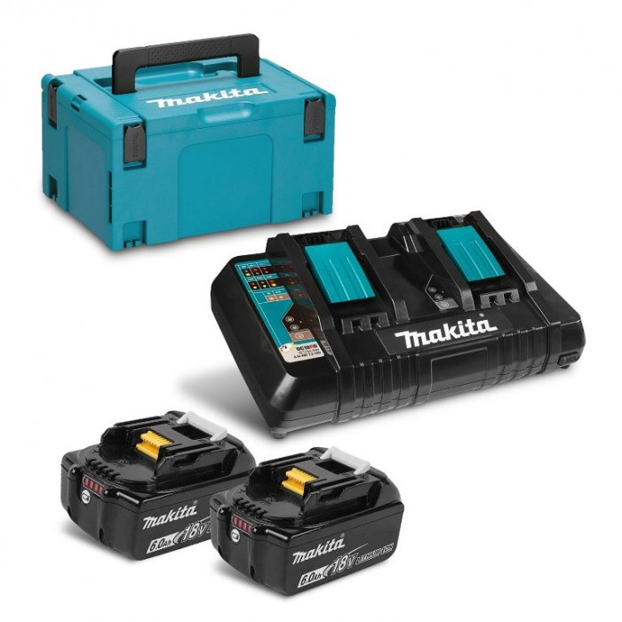 Батерия Li-Ion комплект за електроинструменти със зарядно 18 V, 6 Ah, 2 бр., Makita BL1860 Set