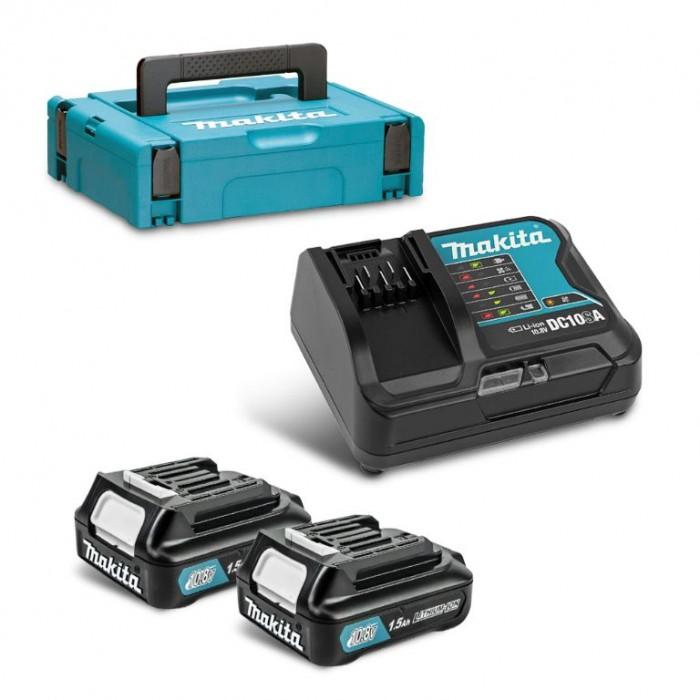 Батерия Li-Ion комплект за електроинструменти със зарядно 10.8 V, 1.5 Ah, 2 бр., Makita DC10SA set