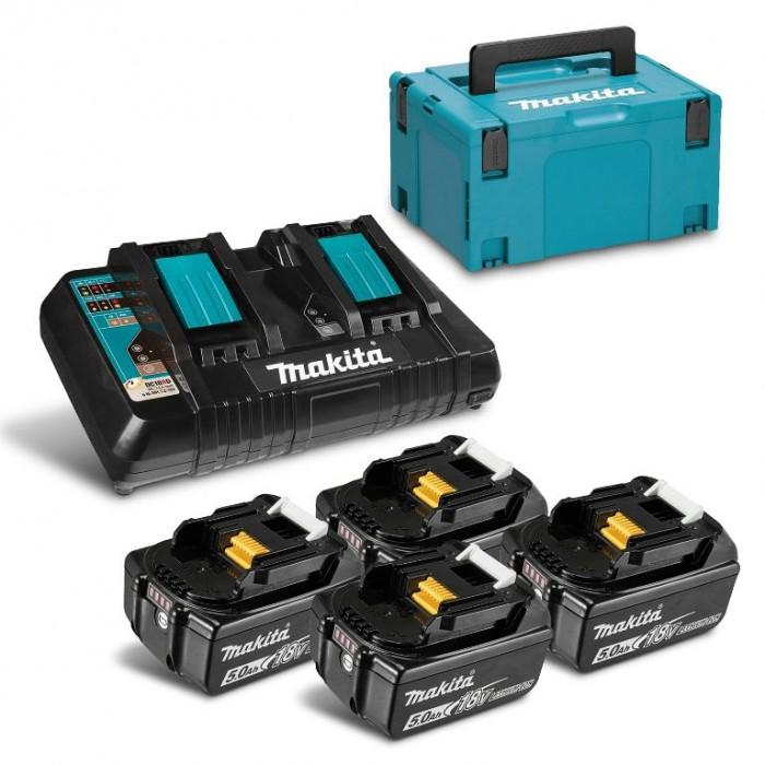 Батерия Li-Ion комплект за електроинструменти със зарядно 18 V, 5 Ah, 4 бр., Makita MKP3PT184