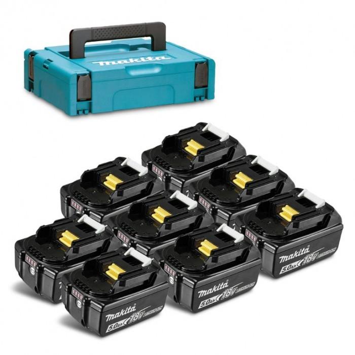 Батерия Li-Ion 8 броя комплект за електроинструменти със зарядно 5 Ah, 18 V Makita LXT