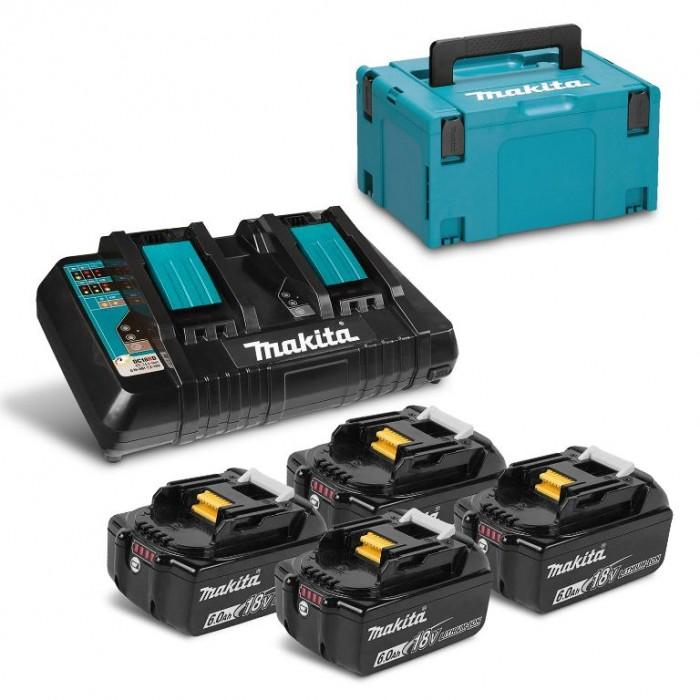 Батерия Li-Ion комплект със зарядно 6 Ah, 18 V, 4 бр. Makita BL1860 Set