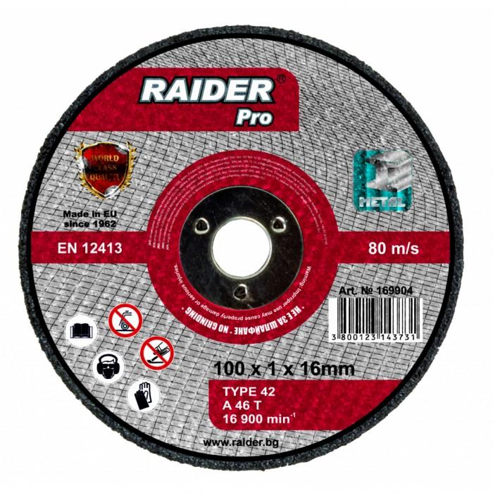 Диск за метал за пневматичен ъглошлайф ø100x1x16mm Raider 169904