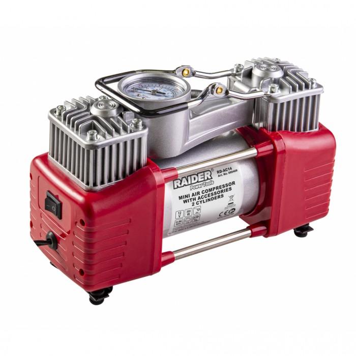 Компресор 12V DC метален 300W 70L/min 2 цилиндъра с аксесоари Raider RD-AC14