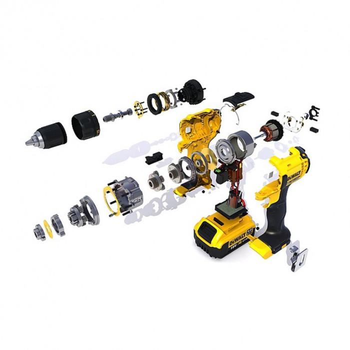 Винтоверт акумулаторен 18 V, 4 Ah, 60 Nm, 1.5-13 мм, DeWALT DCD780M2