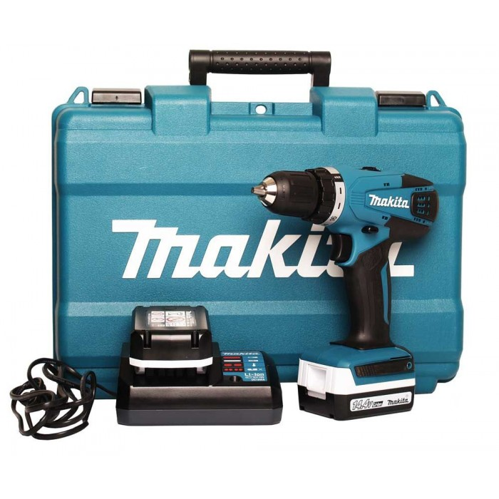Винтоверт акумулаторен 2-скоростен 14.4 V, 1.5 Ah, 30 Nm, 0.8-10 мм, Makita DF347DWE
